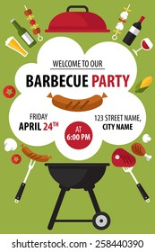 Colorful barbecue party invitation. Vector illustration.