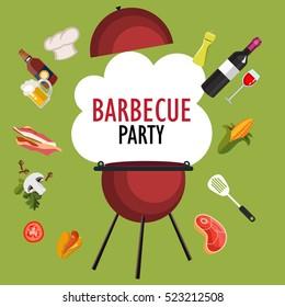 colorful barbecue party invitation vector illustration stock vector
