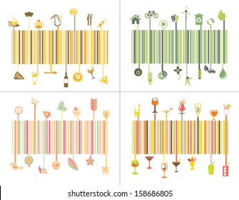 Colorful barcode design idea set of nature,ecological,food, restaurant concept.Vector and illustration,can be use for designing brochure,leaflets,visiting cards,flyers,banners,etc.