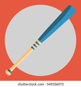 Colorful baseball bat on a red background. Sports Equipment. Vector Illustration