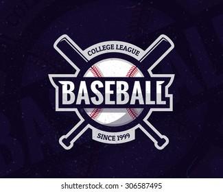 Colorful baseball sport logo label on dark background. Vector abstract illustration.