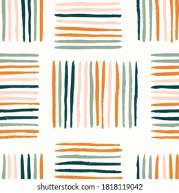 Colorful basket weave abstract vector pattern. Stripes creating rectangles forming a weave. Orange, pink, green colors over white.  Great for home decor, fabric, wallpaper, stationery, design projects
