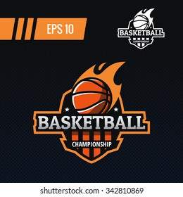 Colorful basketball ball with fire tail on shield sports logo label on abstract background. Vector isolated illustration.