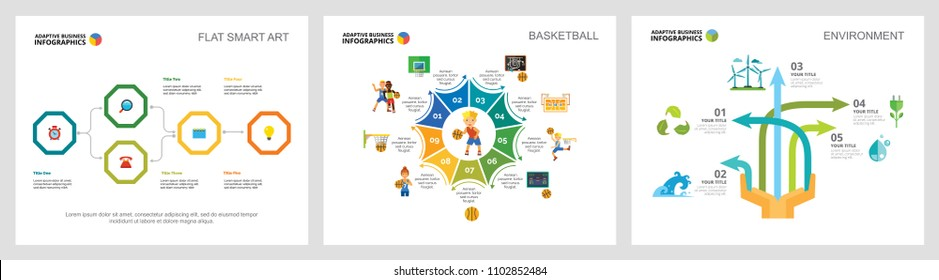 Colorful basketball and ecology concept infographic charts set. Business design elements for presentation slide templates. For corporate report, advertising, leaflet layout and poster design.