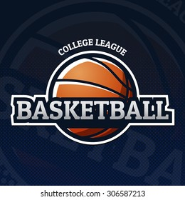 Colorful basketball sport logo label with college league sign on dark background. Vector abstract illustration.