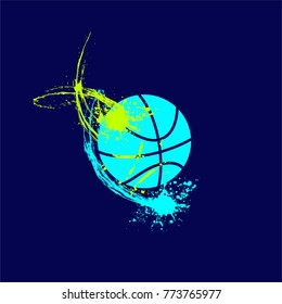 colorful basketball with spray on the white background