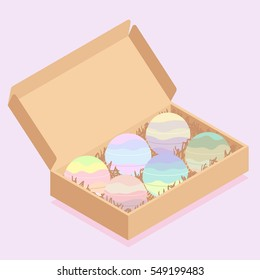 Colorful bath bombs packaged in carton box vector illustration.