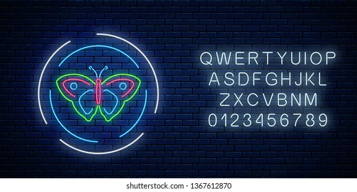 Colorful batterfly glowing neon sign in round frames with alphabet on dark brick wall background. Spring flyer emblem in circle. Night street advertising symbol. Vector illustration.