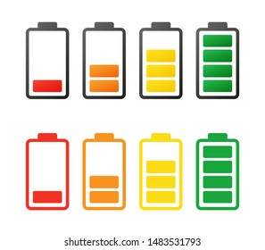 Colorful battery capacity charge icons