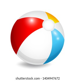 Colorful beach ball, isolated, vector illustration.