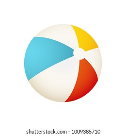 Colorful beach ball vector illustration. White, red, yellow and blue summer ball isolated on white background.
