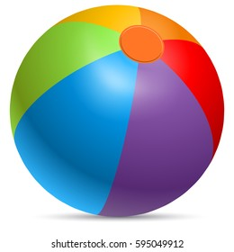 Colorful beach ball vector illustration. Rainbow colored beachball isolated on white background.