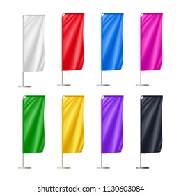 Colorful beach flags set isolated on white background. Realistic teardroup blank flag for outdoor event presentation, business promotion or sport competition. Vertical marketing vector objects