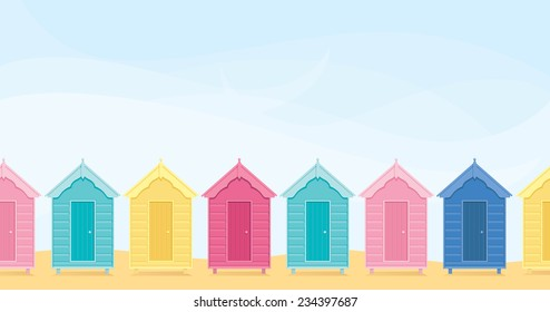 Colorful beach huts with copy space.