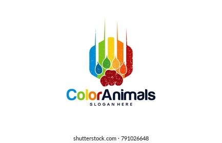Colorful Beast Paws logo Designs concept , colorful Pet Logo designs template with grunge