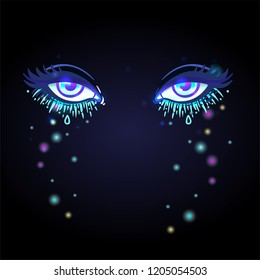 Colorful beautiful eyes with shiny glitters and face gems glowing in the dark. Bright vector illustration isolated on black. Emotions: expression of sadness. Pastel goth colors.