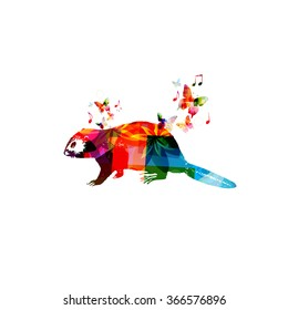 Colorful beaver design with butterflies
