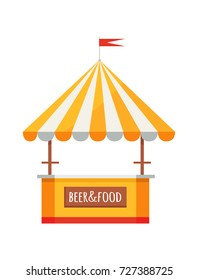 Colorful beer and food festival tent of orange and white colors, selling drinks and snacks represented on vector illustration on white background.