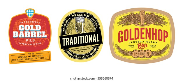 Colorful beer labels set for different alcoholic drink products design isolated vector illustration