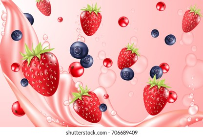 Colorful berry red background.  Pink juice splash. Blueberry, strawberry and raspberries vector 3d illustration.