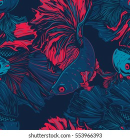 Colorful Betta Fish Seamless Pattern. Siamese Fighting Fish. Betta Splendens. Background Wallpaper