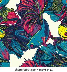 Colorful Betta Fish Seamless Pattern. Siamese Fighting Fish. Betta Splendens. Background Wallpaper