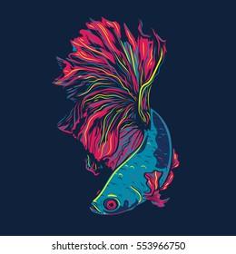 Colorful Betta Fish Vector Illustration. Siamese Fighting Fish. Betta Splendens.