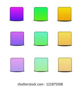 Colorful bevel styled icon set on white background