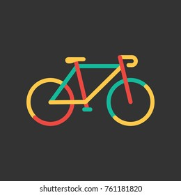 Colorful Bicycle icon. Linear sign bike. Vector illustration in flat style isolated on dark background