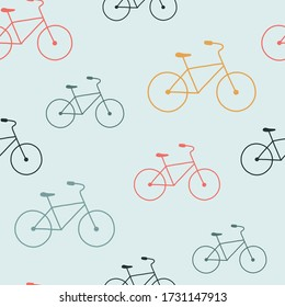 Colorful Bicycle seamless pattern. Vector illustration on the theme of World Bicycle Day, June 3.