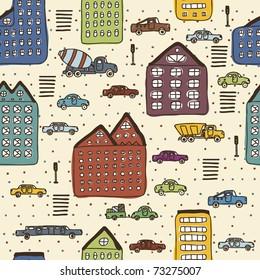 colorful big city seamless pattern