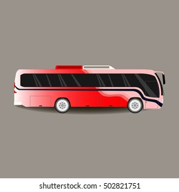 Colorful big tour bus isolated on darck background
