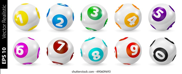 Colorful Bingo Lottery Number Balls 3d. Vector colored balls isolated. Bingo balls set. Ball lottery.