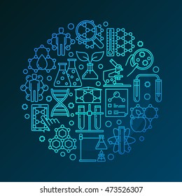 Colorful bio technology round symbol. Vector blue bio-technology and science linear symbol. Nanotechnology or genetic engineering concept sign