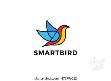 Colorful Bird Abstract Logo design vector template. Flying Dove Logotype concept icon.