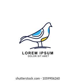 colorful bird logo template. minimal bird logo