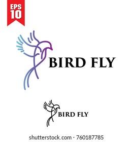 colorful bird monoline logo design