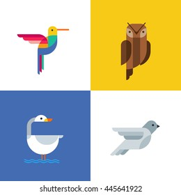 Colorful birds flat logo icons. Set of vector colorful birds illustration of hummingbird, owl, pigeon and swan. Isolated design elements and backgrounds.