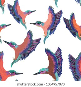 Colorful birds flying seamless pattern. Vector illustration on white background