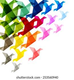 colorful birds origami