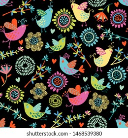Colorful birds seamless repeat pattern with hand drawn flowers and hearts. Best for children's fabric, baby shower, textile, scrapbook paper.