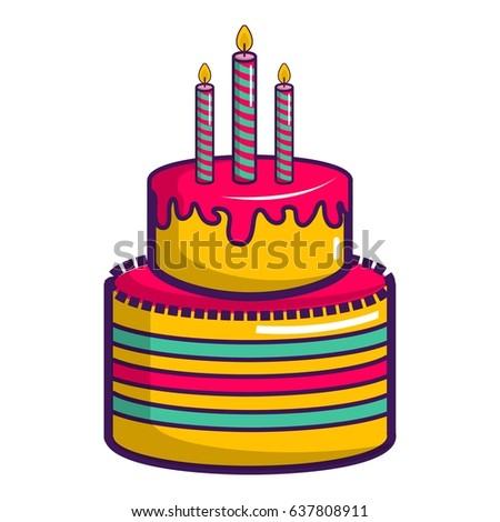 Colorful Birthday Cake Icon Cartoon Illustration Stock Vector