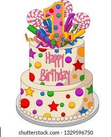 Colorful birthday cake on a white background