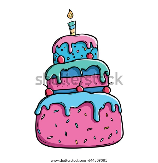 Phenomenal Colorful Birthday Cake Outline Using Doodle Stock Vector Royalty Funny Birthday Cards Online Elaedamsfinfo
