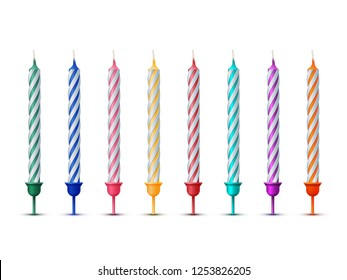 Colorful birthday candles isolated on white background. Celebration party design elements