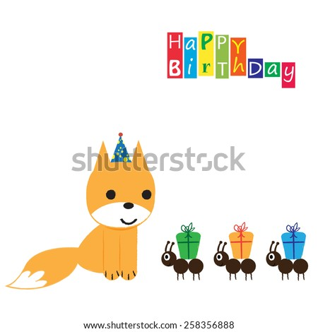 Colorful Birthday Card Funny Sweet Animal Stock Vector Royalty Free