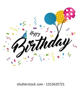 Colorful birthday card or party invitiation with ballons