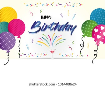 Colorful birthday card or party invitiation with ballons and confetti