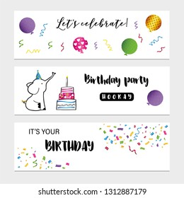 Colorful birthday cards with sweet animals, cakes and confetti
