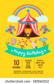 Colorful birthday invitation card with cute circus animals set two